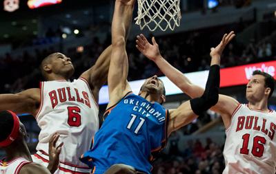 NBA-韦少准三双雷霆胜公牛 巴特勒病退仅1分