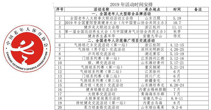 中国老年人体育协会2019年活动时间安排